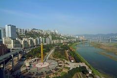 Chongqing, il fiume di Yangtze della metropoli Fotografia Stock Libera da Diritti