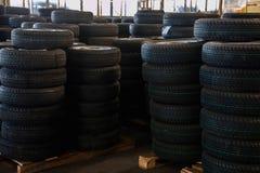 Chongqing Minsheng Logistics Beijing Branch Auto Parts Warehouse reserve car tires Stock Photo