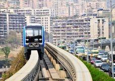 Chongqing monorail System. The Chongqing monorail system, it is named Chongqing rail transit-CRT Royalty Free Stock Images
