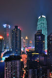 Chongqing at night. CHONGQING, CHINA - OCT 26: Aerial view of the downtown in Chongqing on October 26, 2013. Chongqing is the largest direct-controlled Stock Images