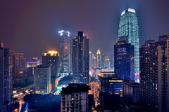 Chongqing at night. CHONGQING, CHINA - OCT 26: Aerial view of the downtown in Chongqing on October 26, 2013. Chongqing is the largest direct-controlled Royalty Free Stock Photography
