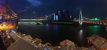 ChongQing Night Scenery Panorama stock afbeeldingen