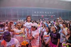 Chongqing Powystawowego centrum kolor biegający w młodzi ludzie Zdjęcie Stock