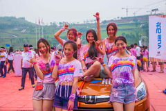 Chongqing Powystawowego centrum kolor biegający w młodzi ludzie Obrazy Royalty Free