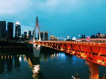 Chongqing Qiansimen Jialing River Bridge royalty-vrije stock foto's