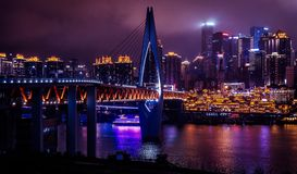 Chongqing vid natt royaltyfria foton