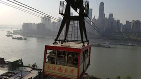 Chongqing Yangtze River-Kabelbahn stock video footage