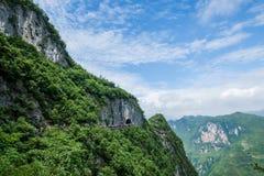 Chongqing Yunyang Longtan National Geological Park Canyon Landform. Chongqing Yunyang Longtan National Geopark is located in the fold belt between Huayingshan Stock Photos