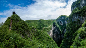 Chongqing Yunyang Longtan National Geological Park Canyon Landform. Chongqing Yunyang Longtan National Geopark is located in the fold belt between Huayingshan Royalty Free Stock Images