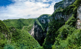 Chongqing Yunyang Longtan National Geological Park Canyon Landform. Chongqing Yunyang Longtan National Geopark is located in the fold belt between Huayingshan Royalty Free Stock Photos