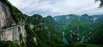 Chongqing Yunyang Longtan National Geopark Canyon Plank Road. Chongqing Yunyang Longtan National Geopark is located in the fold belt between Huayingshan fault Royalty Free Stock Photos