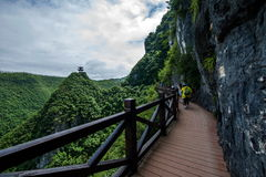 Chongqing Yunyang Longtan National Geopark Canyon Plank Road. Chongqing Yunyang Longtan National Geopark is located in the fold belt between Huayingshan fault Royalty Free Stock Image