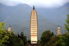Chongshen temple and Three Pagodas in Dali. Yunnan province. China. Royalty Free Stock Photos