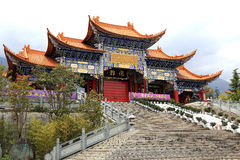 Chongshen temple and Three Pagodas in Dali. Yunnan province. China. Royalty Free Stock Photo