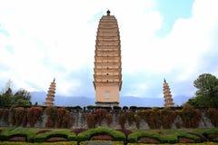Chongshen temple and Three Pagodas in Dali. Yunnan province. China. Stock Images