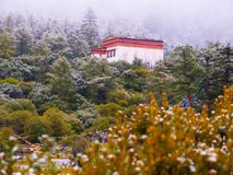Chongu monastery in Yading Royalty Free Stock Photo