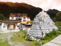 Chongu monastery in Yading Stock Images