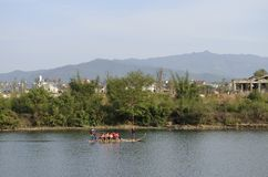 Chongyang stream bamboo rafting Stock Image