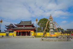 CHONGYUANG świątynia, CHINY: Chodzący wokoło pokojowego świątynnego kompleksu, piękni budynki, architektura i niektóre, zieleniej Zdjęcie Stock