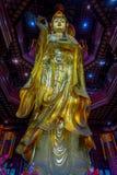 CHONGYUANG świątynia, CHINY - 29 STYCZEŃ, 2017: Zamyka w górę pięknej złotej Buddha statuy, wielkie szczegółowe dekoracje, część Obraz Royalty Free