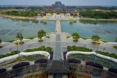 CHONGYUANG TEMPEL, CHINA - 29 JANUARI, 2017: Spectaculair mooi complex overzichtsbeeld van vreedzame tempel, Royalty-vrije Stock Fotografie