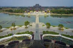 CHONGYUANG TEMPEL, CHINA - 29 JANUARI, 2017: Spectaculair mooi complex overzichtsbeeld van vreedzame tempel, Stock Afbeeldingen