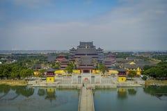 CHONGYUANG TEMPEL, CHINA - 29 JANUARI, 2017: Spectaculair mooi complex overzichtsbeeld van vreedzame tempel, Stock Fotografie