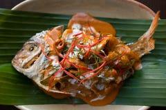 Choo chee fish. Thai food. stock photo