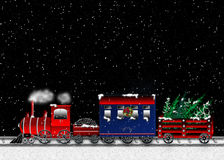 Choo Choo Train Carrying Christmas Trees - Graphic Royalty Free Stock Photo