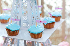 Choсolate turquoise cupcakes with hearts Stock Photo