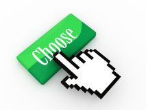 Choose. Green burron with word choose and cursor hand royalty free illustration