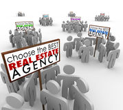 Choose Best Real Estate Agency People Around Signs Agents Royalty Free Stock Photography