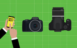 Choose and buy the best camera slr Royalty Free Stock Photography