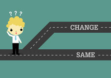 Choose change to future or same the past. Businessman stand on road which separate 2 way of change or same Royalty Free Stock Photos