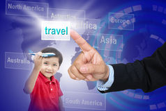 Choose for child. Abstract hand of people searching and choose travel for child stock photo