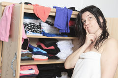 Choose clothes woman Stock Photography