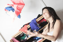 Choose clothes woman Stock Photo