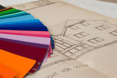 Choose colors. Chossing colors for the house Royalty Free Stock Photography
