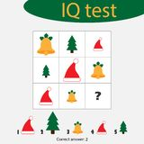 Choose correct answer, IQ test with christmas picturees for children, xmas fun education game for kids, preschool worksheet. Activity, task for the development royalty free illustration