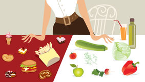 Choose Diet. Vector illustration of a lady choosing products vector illustration