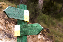 Choose direction. Two direction signposts aiming two diferent ways with free setup Stock Photography