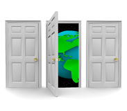 Choose the Door to a World of Opportunity. One of three doors opens to reveal a world of new opportunity Stock Photos
