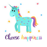 Choose happiness. Cute magical unicorn with little stars. Funny postcard or greeting card Stock Photo