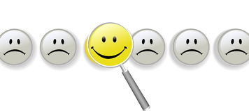 Choose Happiness magnifying glass row of smileys Stock Photography