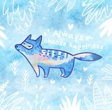 Happy card with white polar fox in cartoon style in the jungle. Blue decorative background. Always choose happiness. Quote. Fantasy card with cartoon arctic fox Royalty Free Stock Image
