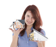 Choose house. Estate agency client choose new house represented by model. Real estate agent helps select house Stock Images