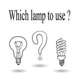 Choose between an incandescent lamp and energy-saving lamp.Vector Stock Image