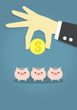 Choose invesment. Businessman's hand carry coin of dollar and three pink piggy bank on blue background Stock Image