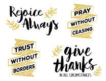 Rejoice Always, Pray without Ceasing, Give Thanks in all Circumstances, Faith Lettering Set stock illustration