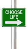 Choose Life. A modified one way street sign indicating Choose Life stock illustration